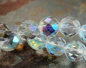 10mm Czech Beads Faceted  in AB Clear Crystal -25 beads