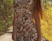first kiss - wildflower off white multi colored rayon stretchy body con shoulder tie mini hippie boho festival dress xs
