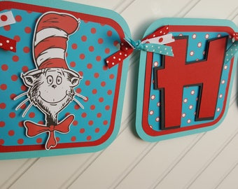 Cat in the Hat Happy Birthday OR Name banner, Dr. Seuss Party decorations. Cat in the Hat Birthday. First Birthday. 1st Birthday.