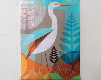 White Heron, Kotuku, fabric, wall hanging, banner, Ellen Giggenbach