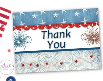 Custom Thank You Cards, Thank You Cards, Printable Thank You Cards, Red White and Blue, 4th of July, Patriotic Invitation, Stars and Stripes