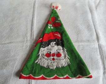 Vintage 50s Christmas Flannel Elf Hat Green Santa Red Noel