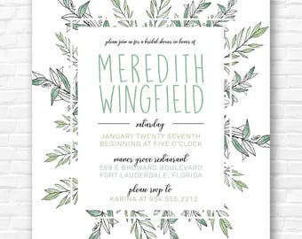 Botanical Leaves Bridal Shower Invitation