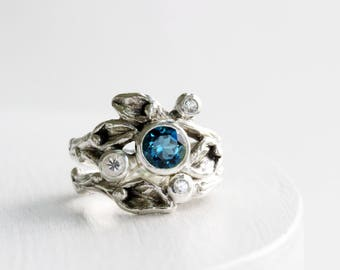 London Blue Topaz, White Sapphire Engagement Ring Set, Leaf Rings, Silver Twig Rings