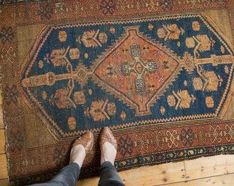 4x5 Vintage Kurdish Malayer Square Rug