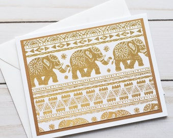 Golden Elephant Note Cards // Set of 6 // Indian Elephant // Good Luck Note Cards // Thank You Cards // Gold & White Note Cards
