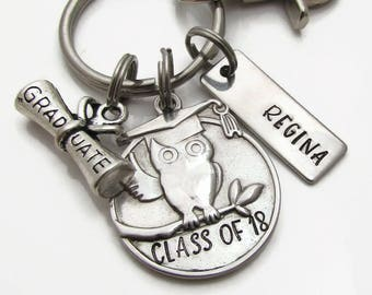 Personalized Owl Graduation Keychain, Class of 2018, Personalized Graduation Keychain, Personalized Grad Gift, Stainless Steel Keychain