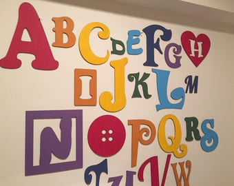 Full Wooden Alphabet - Hand Painted Wooden Wall Letters Set - 26 letters - mixed font and sizes - choose colours to suit your decor