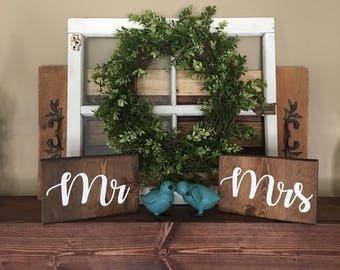 Mr. & Mrs. rustic newlyweds wedding signs