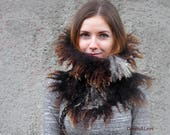 Wild felted cowl for her, felted loop scarf, wool locks neck wrap circle scarf, warm wool cowl, brown felted scarf, tube scarf