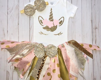 Gold Unicorn First Birthday Outfit,Fabric Tutu Set, Unicorn Pink and Gold Tutu,Cake Smash Outfit,Baby Girl 1st Unicorn Birthday,Tutu 3pc Set