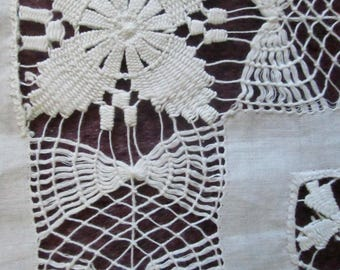 Lavish Drawnthread Embroidered Linen Tablecloth, Mint Condition