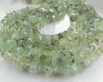 """7"""" strand natural PREHNITE faceted gem stone nugget beads 6mm - 8mm green"""