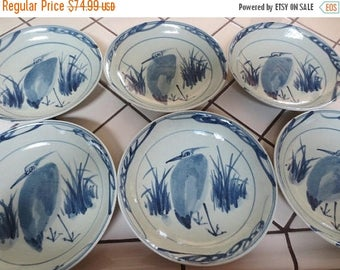 30% OFF SALE Vintage Asian Pottery Heron Bird Bowls Blue Set of 6 Earthenware Hand Painted Stoneware