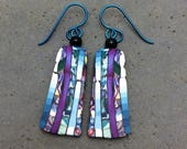 Streaming Colors in Purple and Turquoise  with Vertical Lines, Polymer Clay, Stroppel Cane, French Hook Earrings