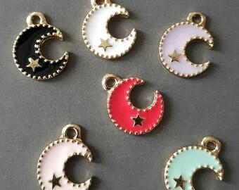 6pcs-Moon star charm-enamel Charm-you pick the color