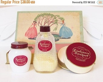 ON SALE Vintage Cashmere Bouquet Set Face Powder Lotion Boxed Set 1930s 1940s New Old Stock
