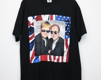 Elton John & Billy Joel Shirt Vintage tshirt 1994 American Tour Concert Tee 1990s Rocket Man Piano Classic Rock and Roll