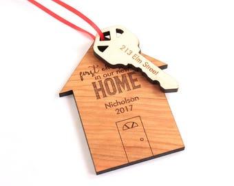 First Christmas in our New Home personalized wooden ornament - multi-dimensional holiday gift for new homeowners, newlyweds, neighbors