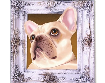 "French Bulldog Art Print on Canvas - Beige and Blue- French Bulldog Art - Frenchie in a Frame - 8"" x 8"""