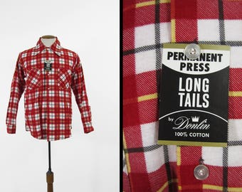Vintage Red Flannel Shirt 1970s Cotton NOS Plaid Tartan Long Sleeve Deadstock - Medium