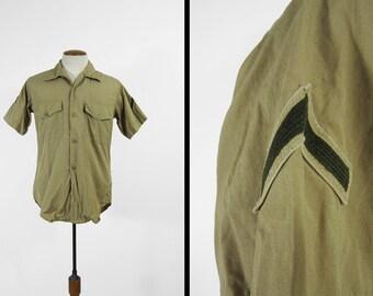 Vintage US Marine Shirt USMC Private Vietnam War Khaki Short Sleeve - Medium