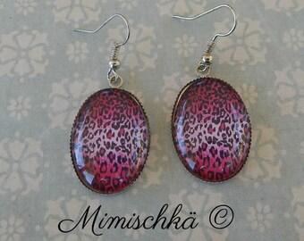 earrings pink leopard pin up rockabilly