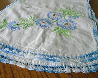 Vintage Blue Flower Runner / Table Runner / Hand Embroidered / Dresser Scarf / Pink Flowers / Botanicals / Pink Flower Embroidery / Cotton