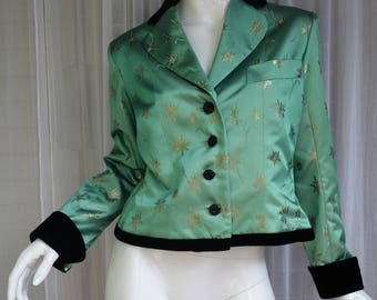Vintage YSL Yves Saint Laurent rive gauche Mint Green short Jacked with Embroidery Fr.Sz.40