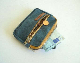 Waxed canvas front pocket wallet - blue waxed canvas small wallet - Personal accessories