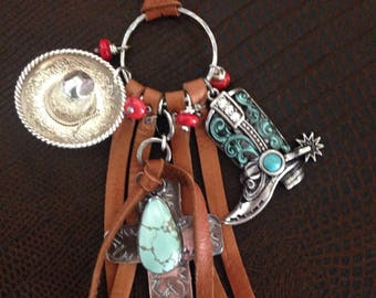 Handmade Jewelry, Southwestern Jewelry, Boho Chic, Cowgirl, Cowgirl Boot, Turquoise, Rhinestone, Vintage Mexican Sombrero Hat, Cross
