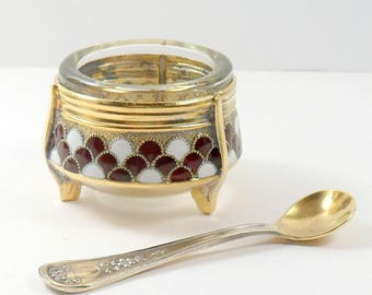 Russian Enamel Open Salt w/ Spoon Individual Salt Burgundy White Salt Dip Nickel Silver Soviet USSR Vintage 1970s