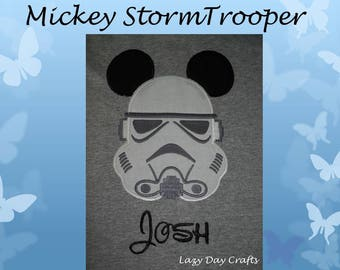Mouse Ears Storm Trooper - Short Sleeve Appliqued Tshirt - Infant and Toddler Size Tshirt - 6 months to 5/6