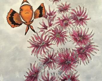 Original Anemone & Clownfish Painting, Anemone Art , Saltwater Fish Home Decor, Ink Art ,FIsh Art