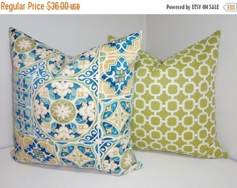 FALL is COMING SALE Outdoor Deck Patio Pillow Cover Mosaic Print Blue Yellow Green Geometric Outdoor Pillow Cover 18x18