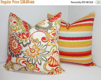 FALL is COMING SALE Outdoor Deck Patio Pillow Cover Stripe & Floral Set Red Blue Orange Green Striped Outdoor Pillow Cover 18x18