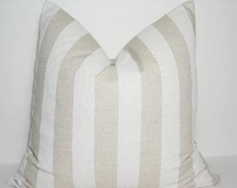 FALL is COMING SALE Canopy Cloud Tan & Natural Stripe Pillow Cover Decorative Striped Pillow Cover 12x18 18x18
