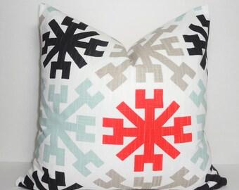 Premier Prints Jacks Geometric Stars Black Seafoam Orange Red Taupe Home Decor by HomeLiving Pillow Cover Size 18x18
