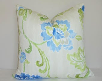 Waverly Floral Ikat Cobalt Blue Green Ivory White Pillow Cover Home Decor by HomeLiving Throw Pillow Cover Size 18x18