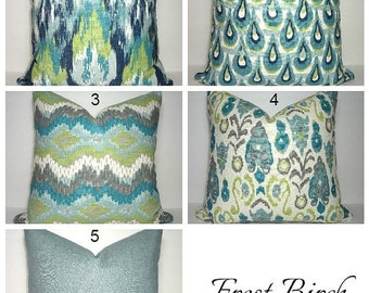 SPRING FORWARD SALE Frost Birch Collection Coordinating Pillow Covers Blue Green Navy Ivory Ikat Peacock Patterns Choose Size