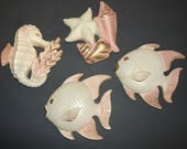 Fish Seahorse StarFish Seashell Wall Plaques Vintage Miller Studios Pink Chalkware Retro Kitsch Fish Decor