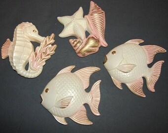 Fish Seahorse StarFish Seashell Wall Plaques Vintage Miller Studios Pink Chalkware Retro Kitsch Fish Decor