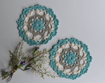"""Small Crochet Doily Pair - Mint Green and Taupe - Lacy Small Mini 6"""" - Set of 2"""