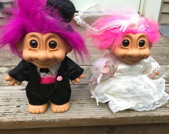 Vintage Wedding Trolls -  Large Russ Troll Dolls - Bride and Groom Trolls - Collectible Troll Set - Retro Vintage Toy