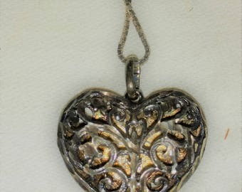 Vintage Sterling Heart Necklace Filigree Silver Necklace 925