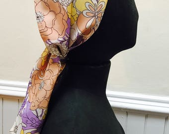 Vintage 1960s Pink, Yellow, Purple Floral Head and Neck Scarf