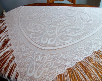 White Lace Shawl Vintage Wrap Boho Wedding Shawl Fringe Shawl