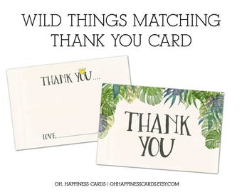 PRINTED Where the Wild Things Are Thank You Cards- Wild Rumpus, Max