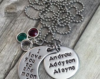 I love you to the moon and back, personalized with up to 3 names