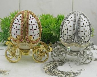 1 pcs Decorated Egg EleganceJewelry Box.Pink.(E003)